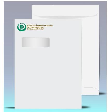 9 x 12 Catalog Window Envelopes, 2 color print, # 21040P2